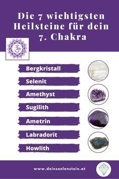 Hier findest du eine Übersicht der 7 wichtigsten Heilsteine für dein 7. Chakra. Diese Heilsteine unterstützen die Heilung deiner Chakren - besonders die weißen und violetten Heilsteine. Hol dir die gesamte Übersicht! Chakra Heilung, Amethyst, Crystals, Blog, Fitness, Aura Colors, Holistic Healing, Chakras, Health And Wellbeing