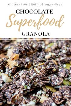 This homemade chocolate granola is full of super foods for a healthy start to your day! It's made with cacao powder, hemp seeds, coconut flakes, and sprinkled with goji berries too! Start your day right with a bowl of gluten-free chocolate granola!