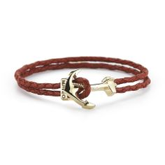 Anchor Leather Bracelet Red, $45, now featured on Fab.
