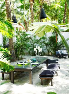 a sophisticated dinner party with low hanging lanterns + dark furniture in the midst of lush greenery + tropical sands