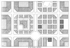 LEON KRIER, REVISION OF THE CERDA BLOCK, 22M X 22M, THE UNDERGROUND PARKING, BARCELONA, SPAIN, 1976