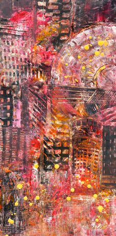 """Telise Rodelv """"Manhattan II"""" oil and cold wax"""