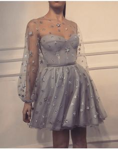 A-Line Jewel Long Sleeves Short Grey Homecoming Dress with Sequin Hoco Dresses, Dance Dresses, Pretty Dresses, Beautiful Dresses, Dress Outfits, Evening Dresses, Fashion Dresses, Dress Up, Long Sleeve Homecoming Dresses