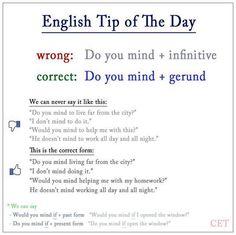 Do you mind + gerund.