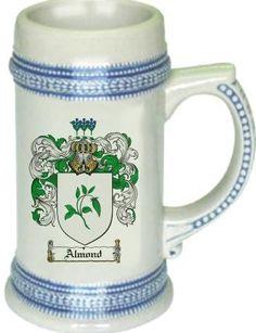 Almond Coat of Arms / Family Crest tankard stein mug