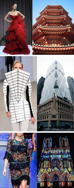 , Side by Side Images Reveal How Much High Fashion is Inspired by Architecture , From classic church interiors to cutting-edge skyscrapers, fashion designers often take inspiration from architecture. Let's look at some side-by-side. New Fashion, Runway Fashion, Trendy Fashion, Fashion Models, High Fashion, Fashion Show, Fashion Designers, Fashion Images, Classic Fashion