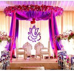 Mandap, Ganesh, flowers, backdrop
