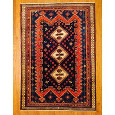 @Overstock - With a distinctive style, this gorgeous area rug from Iran will add some splendor to any decor. This Hamadan area rug is hand-knotted with a geometric pattern in shades of navy, rust, ivory, green and red.http://www.overstock.com/Worldstock-Fair-Trade/Persian-Hand-knotted-Tribal-Hamadan-Navy-Rust-Wool-Rug-510-x-84/6748756/product.html?CID=214117 $899.99