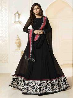 Drashti Dhami Black Colour Georgette Party Wear Anarkali Suit