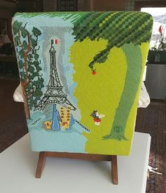 needlepoint chair with Eiffel Tower