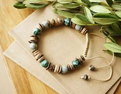 Boho Leafy Shamballa Style Bracelet Bohemian Hippie by ByLEXY