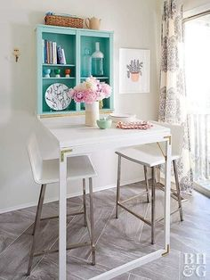 Don't sacrifice space for style. A modern take on the classic Murphy table works perfectly in a small kitchen corner. The quick setup and tear-down for this tabletop is ideal for apartment-dwelling couples or down-sized empty nesters. Small Kitchen Tables, Table For Small Space, Small Dining, Small Space Living, Small Spaces, Kitchen Corner, Kitchen Ideas, Small Chairs, Small Dinner Table