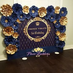 Here is a picture of this beautiful wall i was working on for a little boy first birthday trendy baby boy birthday party ideas decoration backdrops ideas party birthday baby Party Kulissen, Festa Party, Shower Party, Bridal Shower, Ideas Party, Boy Shower, Prince Birthday Party, Boy First Birthday, Boy Birthday Parties