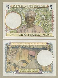 (Banknotes)  French West Africa - f5  1939  (P21)  AU-UNC  !!!!!!!!!!!!!!!!!!!!!