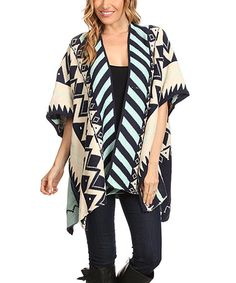 Another great find on #zulily! Navy & Beige Geometric Ruana - Plus Too #zulilyfinds