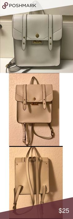 "Anne Klein Ava Backpack Cream/ivory vegan leather backpack purse from Anne Klein, style is Ava. Has adjustable straps and a top handle. 10"" w x 9"" h x 4"" deep. Gold hardware. Perfect for an everyday bag! No major flaws.   *first photo from google for color reference Anne Klein Bags"