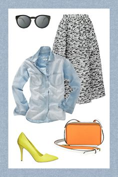 """This Is The Only Denim Shirt You Need, Says Math #refinery29  http://www.refinery29.com/2014/05/67593/best-chambray-shirt#slide4  The """"Ladylike But Never Prissy"""" Best Chambray Shirt Outfit."""