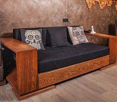 Arts And Crafts Office Furniture Diy Furniture Building, House Furniture Design, Living Room Sofa Design, Loft Furniture, Diy Pallet Furniture, Home Decor Furniture, Wooden Sofa Designs, Modul Sofa, Luxury Sofa