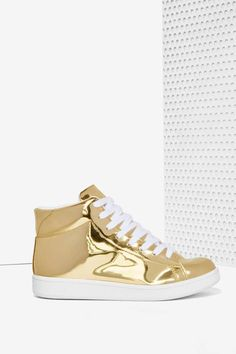 JC Play by Jeffrey Campbell Player High-Top Sneaker - Gold Mirror | Shop Shoes at Nasty Gal!