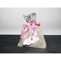 Sachet dragées/pochon lin lamé argenté avec Liberty Emilias flowers , étiquette personnalisée nuagepour un mariage, baptême.