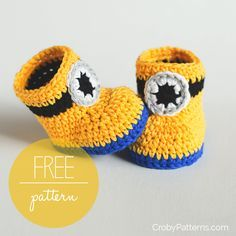 Crochet Patterns For Baby Booties Free Crochet Pattern Minion Inspired Ba Booties Cro Patterns Crochet Patterns For Baby Booties 20 Free Crochet Patterns Ba Booties Cool Ideas Crochet Newborn. Crochet Patterns For Baby Booties Crochet Patterns S. Minion Crochet, Crochet Diy, Booties Crochet, Crochet Slippers, Quick Crochet, Crochet Granny, Crochet Ideas, Baby Booties Free Pattern, Baby Shoes Pattern