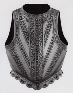 "Italian, Milan        Cuirass for Light Cavalry or Infantry (""Waistcoat"" Cuirass), 1590/95              Steel with etching"