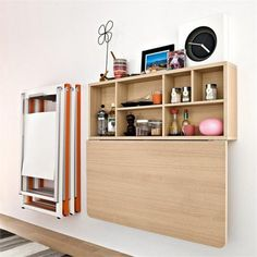 Space Saving Wall Mounted Table: The Spacebox by Calligaris - Tiny House Pins Wall Table, Folding Walls, Wall Mounted Desk, Furniture, Wall Desk, Wall Mounted Folding Table, Wall Mounted Dining Table, Space Saving Furniture, Ikea Wall