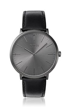 Grey-plated watch with minimal dial and leather strap Assorted-Pre-Pack from BOSS for Men in the official HUGO BOSS Online Store free shipping