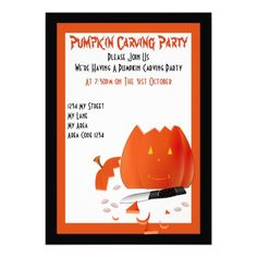 Halloween Pumpkin Carving Party Invite
