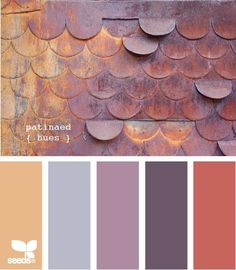 Color inspiration: love the coral/copper/peach with the slate blue and deep purple! by josie
