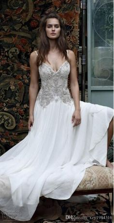 31c9b3976f16 Spaghetti Straps Anna Campbell Wedding Dresses 2016 Beaded Lace Appliques  Sexy Custom Made Wedding Gowns Fairy