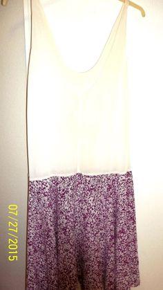 2 Pc Dress, Size L, Floral Burgundy & White, Polyester, Pleats, Elastic Waist #Unknown