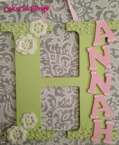 Decorative Hand Painted Flower Wooden Letter by CaitsChicBling