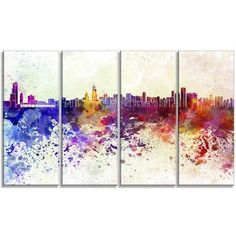 DesignArt Chicago Skyline Cityscape 4 Piece Painting Print on Wrapped Canvas Set