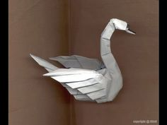 Origami.  How to make an origami swan. paper swan