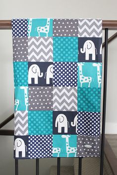 Turquoise and Navy Blue Baby Boy Blanket, Elephant and Giraffe Baby Quilt