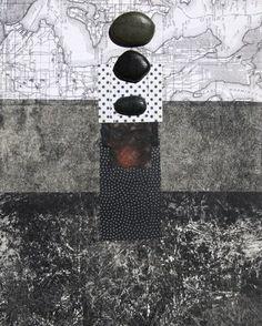 beach stones collage encaustic idea