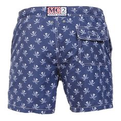 GUSTAVIA SWIM SHORTS WITH PIRATE SKULL PRINTBlue GUSTAVIA long Swim Shorts, with all-over pirate skull print. Two side pockets. Back Velcro flap pocket. MC2 label on waist to the reverse. Elastic waistband with adjustable drawstring. Internal net. COMPOSITION: 100% NYLON. Model wears size M, he is 189 cm tall and weighs 86 Kg.