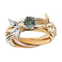 Custom 7 Band Engagement Nest Ring Solid 14k Yellow & White Gold VVS 1 Green Montana Sapphire via Etsy