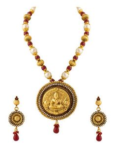 Gold Plated Necklace Set Depicting A Spiritual Image, Embellished With Colourful Beads | Buy Designer & Fashion Necklace Sets Online