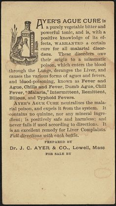 Ayer's Ague Cure is warranted to cure fever & ague and all malarial disorders (back) | Flickr - Photo Sharing!