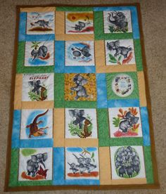 embroiderey elephant quilt top | One Response to Saggy Baggy Elephant Story Quilt