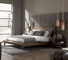 Urbana Bedroom Set   LOVE the bed design, not the color! Love the lighting! Love the slate tile on the wall behind the bed...