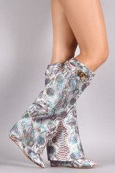 Iridescent Snake Print Fold Down Shaft Knee High Wedge Boots
