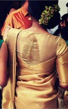 Silk Saree Blouse Designs - Patch Work Blouse Design For Tussar Silk Saree