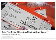 JetStar Free Tickets Facebook Survey Scam
