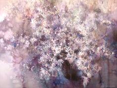 by Yuko Nagayama Watercolor Landscape Paintings, Watercolour Painting, Watercolor Flowers, Paint Flowers, Flower Paintings, Watercolours, Purple Flowers, Facebook Art, Japanese Flowers