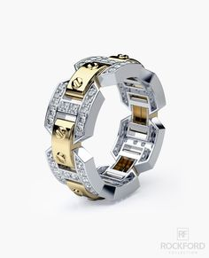 A truly unique design and fine workmanship are combined in one striking designer two-tone gold men's wedding band with pave set round brilliant cut white diamonds. In addition to being a one-of-a-kind