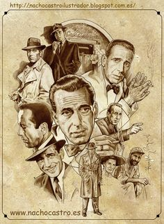 "Humphrey Bogard,illustration from the book ""Hombres de Hollywood"".Nacho Castro.Diábolo ediciones"