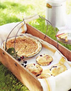 Country Style Chic Picnic... with a white pitcher of milk, maybe some whole peaches and strawberries in the basket too :)